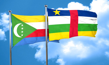 central african republic: Comoros flag with Central African Republic flag, 3D rendering