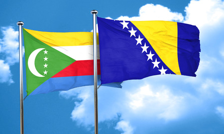 herzegovina: Comoros flag with Bosnia and Herzegovina flag, 3D rendering