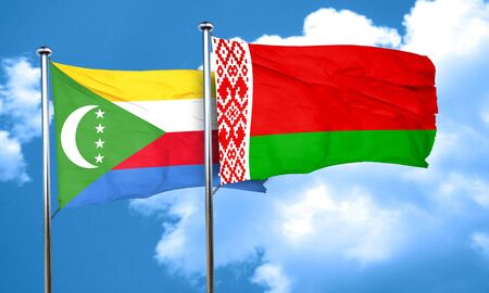 comoros: Comoros flag with Belarus flag, 3D rendering