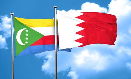 comoros: Comoros flag with Bahrain flag, 3D rendering