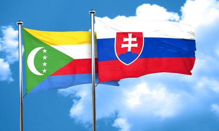 slovakia flag: Comoros flag with Slovakia flag, 3D rendering