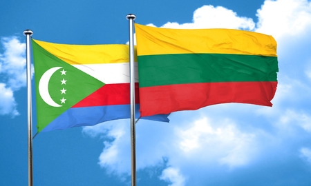 lithuania: Comoros flag with Lithuania flag, 3D rendering