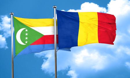 comoros: Comoros flag with Romania flag, 3D rendering Stock Photo