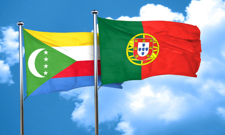 drapeau portugal: Comoros flag with Portugal flag, 3D rendering