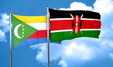 kenya: Comoros flag with Kenya flag, 3D rendering