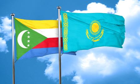 comoros: Comoros flag with Kazakhstan flag, 3D rendering