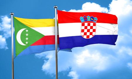 comoros: Comoros flag with Croatia flag, 3D rendering