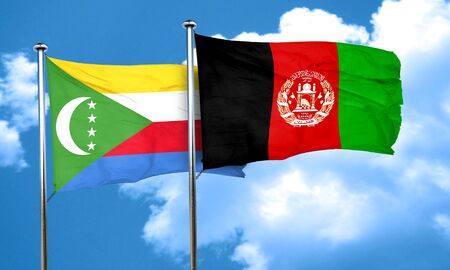 afghanistan flag: Comoros flag with afghanistan flag, 3D rendering Stock Photo