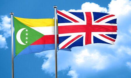 bandera de gran breta�a: bandera de Comoras con bandera de Gran Breta�a, 3D