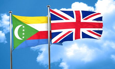 great britain flag: Comoros flag with Great Britain flag, 3D rendering