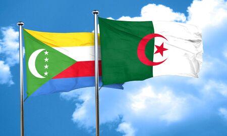 comoros: Comoros flag with Algeria flag, 3D rendering Stock Photo