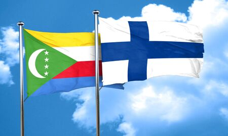 finland: Comoros flag with Finland flag, 3D rendering Stock Photo