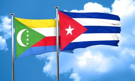 bandera cuba: Bandera de los Comoro con el indicador de Cuba, 3D