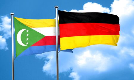 comoros: Comoros flag with Germany flag, 3D rendering Stock Photo