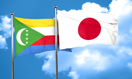 comoros: Comoros flag with Japan flag, 3D rendering Stock Photo