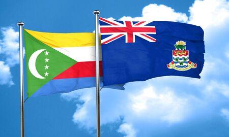cayman: Comoros flag with Cayman islands flag, 3D rendering