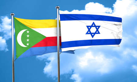 israel flag: Comoros flag with Israel flag, 3D rendering Stock Photo