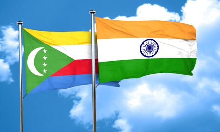 india 3d: Comoros flag with India flag, 3D rendering Stock Photo