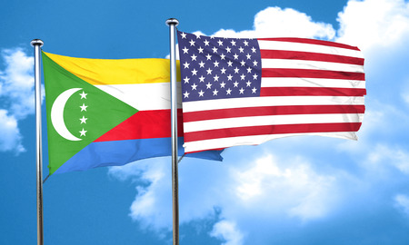 comoros: Comoros flag with American flag, 3D rendering Stock Photo