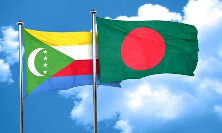 comoros: Comoros flag with Bangladesh flag, 3D rendering