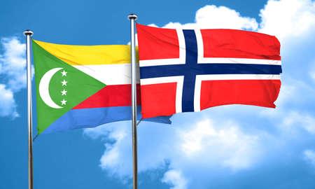 norway flag: Comoros flag with Norway flag, 3D rendering