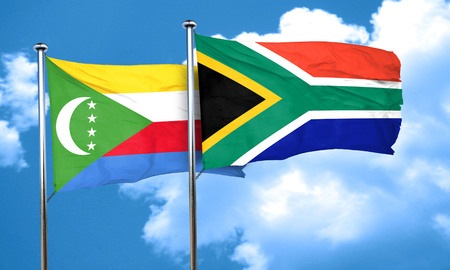 south africa flag: Comoros flag with South Africa flag, 3D rendering