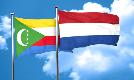 comoros: Comoros flag with Netherlands flag, 3D rendering Stock Photo