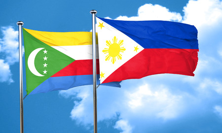 philippino: Comoros flag with Philippines flag, 3D rendering