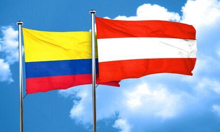 bandera de colombia: bandera de Colombia con la bandera de Austria, 3D