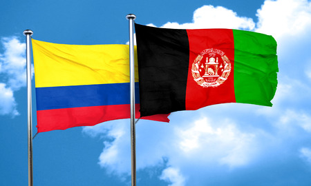 afghanistan flag: Colombia flag with afghanistan flag, 3D rendering Stock Photo