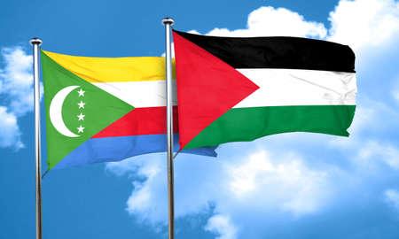 palestine: Comoros flag with Palestine flag, 3D rendering