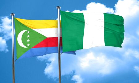 nigerian: Comoros flag with Nigeria flag, 3D rendering