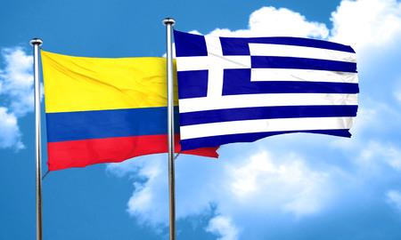 bandera de colombia: bandera de Colombia con la bandera de Grecia, 3D