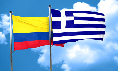 colombia flag: Colombia flag with Greece flag, 3D rendering