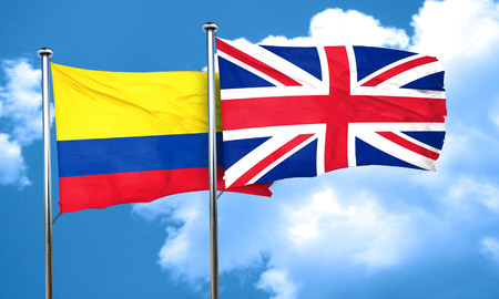 great britain flag: Colombia flag with Great Britain flag, 3D rendering