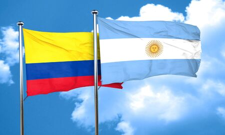 bandera de colombia: bandera de Colombia con la bandera argentina, 3D