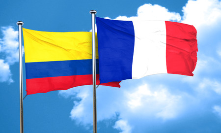 colombia flag: Colombia flag with France flag, 3D rendering
