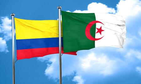 bandera de colombia: bandera de Colombia con la bandera de Argelia, 3D