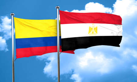 egypt flag: Colombia flag with egypt flag, 3D rendering