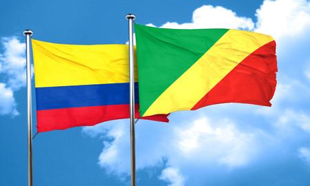 bandera de colombia: bandera de Colombia con la bandera de congo, 3D