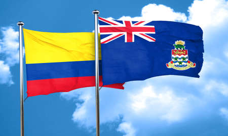 cayman: Colombia flag with Cayman islands flag, 3D rendering