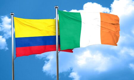 bandera de colombia: bandera de Colombia con la bandera de Irlanda, 3D