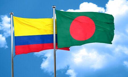 bangladesh: Colombia flag with Bangladesh flag, 3D rendering