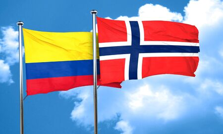 norway flag: Colombia flag with Norway flag, 3D rendering