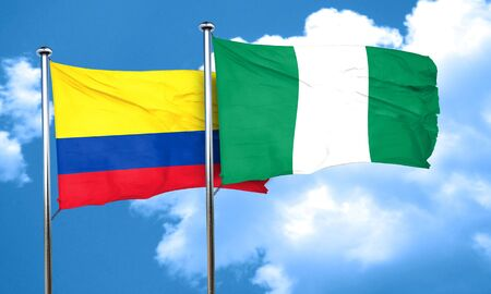 nigerian: Colombia flag with Nigeria flag, 3D rendering