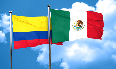 colombian flag: Colombia flag with Mexico flag, 3D rendering