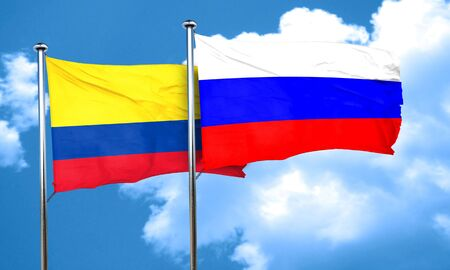 colombia flag: Colombia flag with Russia flag, 3D rendering