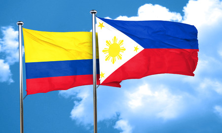 philippino: Colombia flag with Philippines flag, 3D rendering