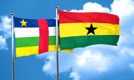 ghanese: Central african republic flag with Ghana flag, 3D rendering Stock Photo