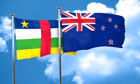 central african republic: Central african republic flag with New Zealand flag, 3D rendering